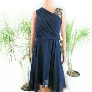 NEW! Phillip Lim* Navy Blue Chiffon Midi Dress
